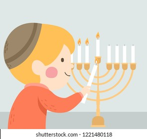 Illustration of a Kid Boy Lighting the Menorah for Hanukkah