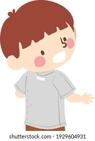 Illustration of a Kid Boy Looking at His Back and Seeing Shirt Tag, Shirt on Backwards