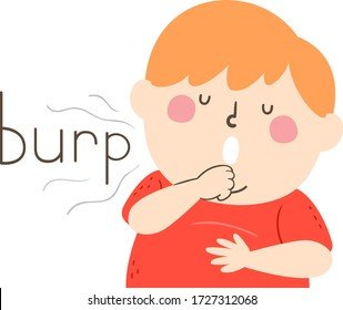 Illustration of a Kid Boy Massaging His Belly and Burping Loudly