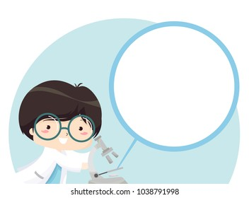 Illustration of a Kid Boy with a Microscope with a Zoomed In Blank Area of His Specimen