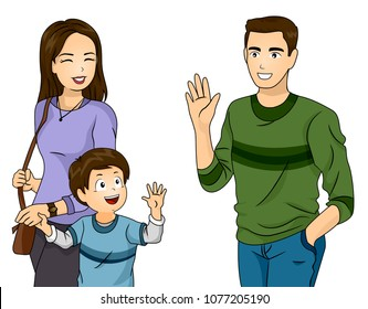 Illustration of a Kid Boy with Mother Waving Bye to His Father