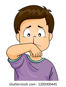 Illustration of a Kid Boy with Nosebleed Cleaning His Face with His Wrist