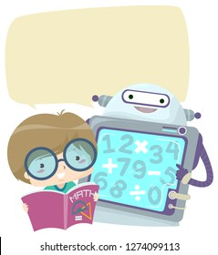 Illustration of a Kid Boy with an Open Math Book and Robot with Blank Speech Bubble