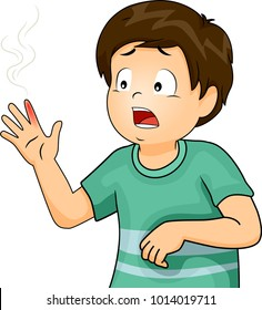 Illustration of a Kid Boy In Pain with a Finger Suffering from Burns