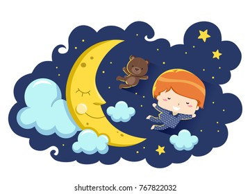 Illustration of a Kid Boy in Pajamas Flying in the Night Sky in Front of a Smiling Moon with a Teddy Bear Stuffed Toy