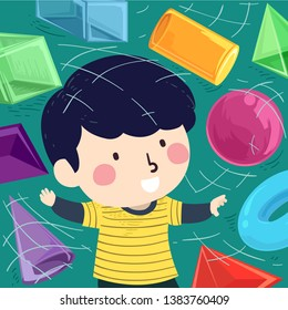 Illustration of a Kid Boy Playing with Virtual 3D Shapes from Sphere, Cylinder, Cone to Torus