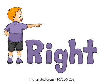 Illustration of a Kid Boy Pointing to His Right with a Right Word or Lettering