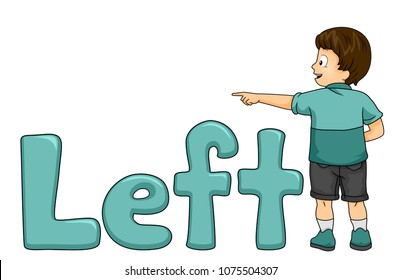 Illustration of a Kid Boy Pointing to His Left with a Left Word or Lettering