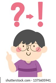 Illustration of a Kid Boy Pointing Up with a Question Mark Pointing to an Exclamation Point