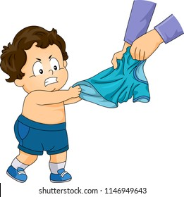 Illustration of a Kid Boy Pulling His Favorite Shirt to Wear