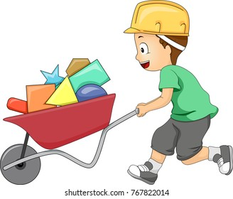 Illustration of a Kid Boy Pushing a Wheelbarrow Full of Basic Shapes like Triangle, Square, Star and Circle