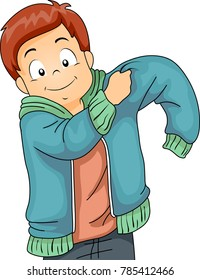 Illustration of a Kid Boy Putting On a Jacket for the Cold Weather