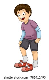 Illustration of a Kid Boy Putting on or Taking Shoes Off