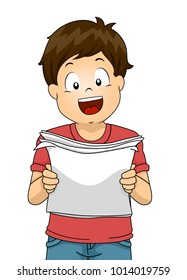 Illustration of a Kid Boy Reading and Holding a Paper Out Loud for Practicing His Speech