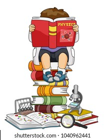 Illustration of a Kid Boy Reading a Physics Book among Several Other Books, Microscope and Magnifying Glass