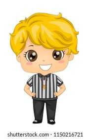 Illustration of a Kid Boy Referee with Whistle and Hands on Waist