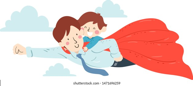 Illustration of a Kid Boy Riding at the Back of His Superhero Father Flying in the Sky