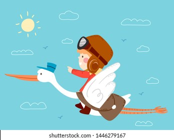 Illustration of a Kid Boy Riding on a Stork Postman Carrying a Bag of Mails Flying in the Sky