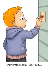 Illustration of a Kid Boy Ringing a Door Bell Visiting a Home