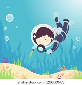 Illustration of a Kid Boy in Scuba Diving Suit Using a Magnifying Glass to Observe Underwater