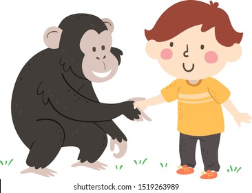 Illustration of a Kid Boy Shaking Hands and Greeting a Chimpanzee
