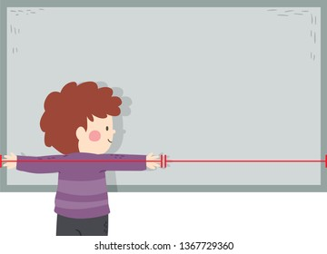 Illustration of a Kid Boy Showing Fathom, an Arbitrary Non Standard Unit of Measurement in Class