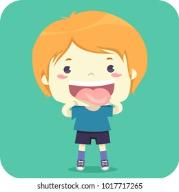 Illustration of a Kid Boy Showing His Tongue for Pronunciation in Class