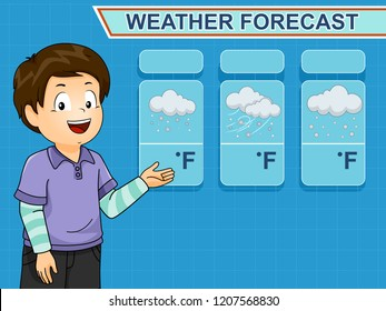 Illustration of a Kid Boy Showing Weather Forecast with Snow, Wind and Clouds
