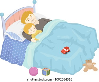 Illustration of a Kid Boy Sleeping with His Father on the Bed