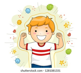 Illustration of a Kid Boy Smiling and Flexing His Arms Forming a Shield as a Protection Against Viruses and Bacteria