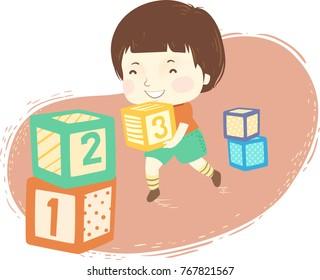 Illustration of a Kid Boy Stacking Number Blocks Having Fun