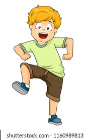Illustration of a Kid Boy Stomping with His Right Foot