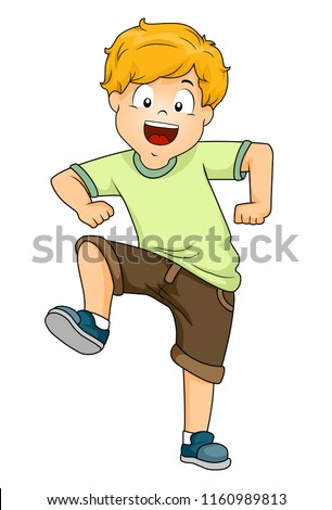 Illustration Kid Boy Stomping His Right Stock Vector ...