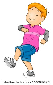 Illustration of a Kid Boy Strutting Forward