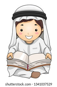 Illustration of a Kid Boy Student In Traditional Arab Thawb and Headdress Reading an Open Book