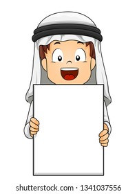 Illustration of a Kid Boy Student In Traditional Arab Thawb and Headdress Showing a Blank Sheet of Paper