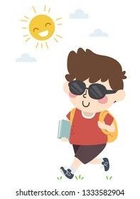 Illustration of a Kid Boy Student Walking to School with Backpack, Book and Wearing Sunglasses