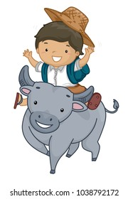 Illustration of a Kid Boy Student Wearing a Backpack and Riding a Carabao
