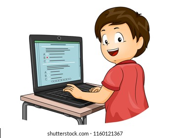 Illustration of a Kid Boy Taking a Computer Based Test on His Laptop