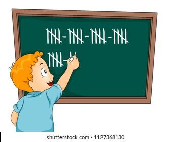 Illustration of a Kid Boy Tallying on Blackboard