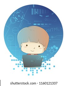 Illustration of a Kid Boy with Technology Background Design Using a Laptop and Programming