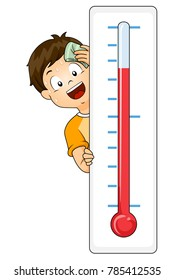 Illustration of a Kid Boy with a Thermometer Sweating From Hot Temperature