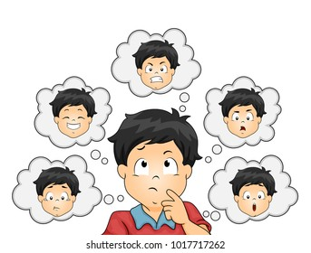 Illustration of a Kid Boy Thinking About Different Types of Emotion from Fear, Anger, Sadness, Joy, Disgust and Surprise