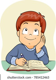 Illustration of a Kid Boy Thinking and Writing on His Book