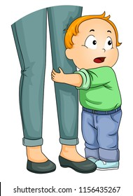 Illustration of a Kid Boy Toddler Clinging Unto His Mothers Legs Being Afraid to Let Go