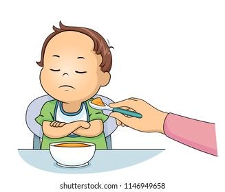 Illustration of a Kid Boy Toddler with Closed Arms and Refusing to Eat