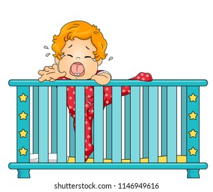 Illustration of a Kid Boy Toddler Crying Out Loud Wanting to Climb Out the Crib