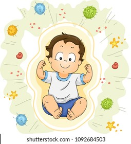 Illustration of a Kid Boy Toddler Flexing His Arms to Show His Strength Against Bacteria and Viruses