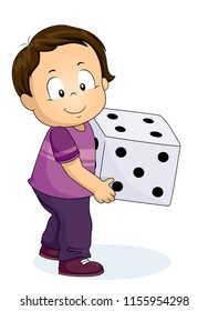 Illustration of a Kid Boy Toddler Holding a Big Die for Playing. Dice for a Random Number.
