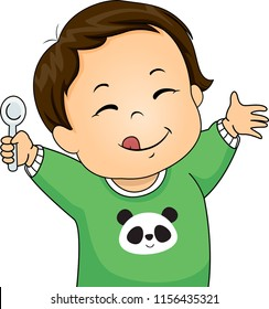 Illustration of a Kid Boy Toddler Holding a Spoon with Tongue Out, Yummy Expression